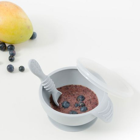 Bumkins - Silicone First Feeding Set with Lid & Spoon - Grey - image 2 of 6