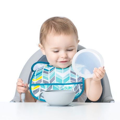 Bumkins - Silicone First Feeding Set with Lid & Spoon - Grey - image 5 of 6