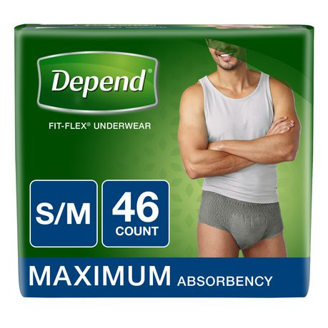 Depend Fit-Flex Incontinence Underwear for MEN, Maximum Absorbency, S/M, Gray - image 1 of 3