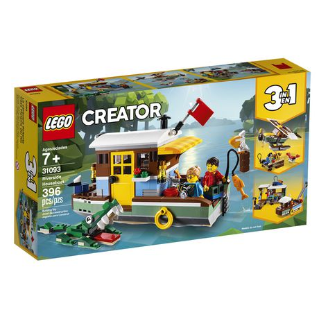 Boxed set from LEGO containing 396 pieces that can be assembled into a houseboat, seaplane or village with fishing boat