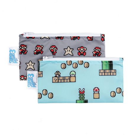 Bumkins Nintendo - Small Snack Bag 2Pack - Super Mario 8-Bit - image 1 of 1