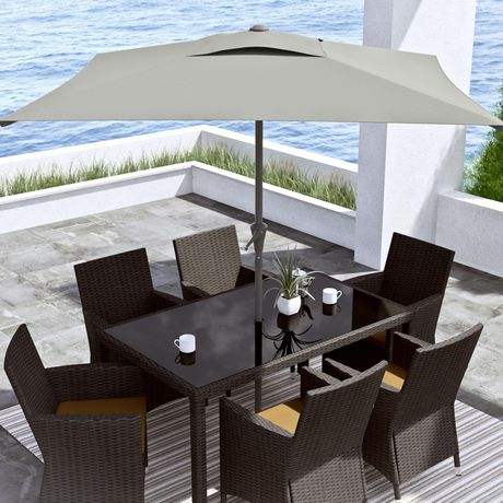 CorLiving PPU 330 U 6.5 Ft Square Patio Umbrella In Sand Grey | Walmart  Canada