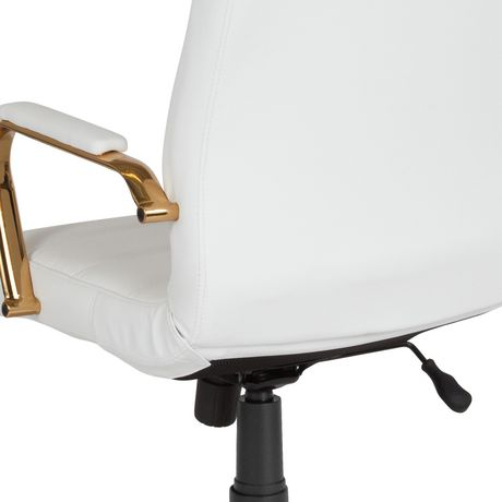 White Leather Executive Swivel Chair, White And Gold Office Chair High Back