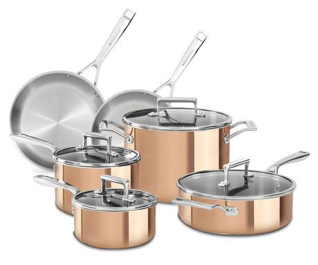 Kitchenaid tri ply 10 piece cookware set walmart canada - Kitchen aid pan set ...