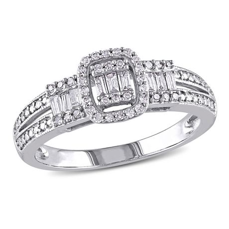 Miabella 0.33 Carat T.W. Baguette and Round-Cut Diamond 10 K White Gold Engagement Ring - image 1 of 5