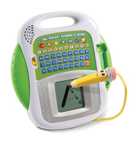 Green and white toy with keyboard and digital screen for learning how to write, made by LeapFrog