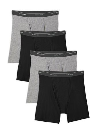 21403254e3dc Fruit of the Loom Men s Black   Grey Boxer Briefs Pack of 4 ...