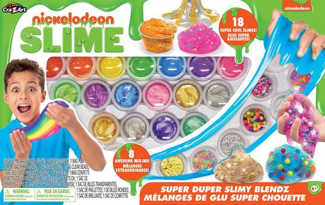 Boxed set from Nickelodeon containing 18 cans of pre-made slime and various accessories