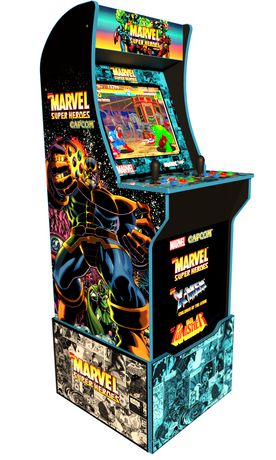 At-home arcade machine decorated in Marvel superheroes made by Arcade 1Up