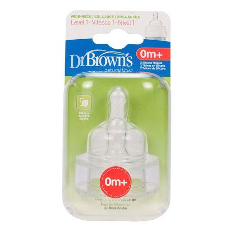 Dr. Brown's - Niveau 1 Tétine pour biberon a goulot large, paq. de 2 - image 2 de 2