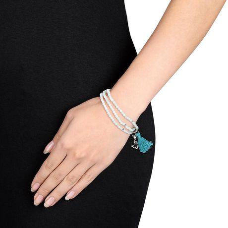 "Tangelo Amazonite and Green Tassel Sterling Silver Endless Dove Charm Bracelet, 20"" - image 3 of 4"