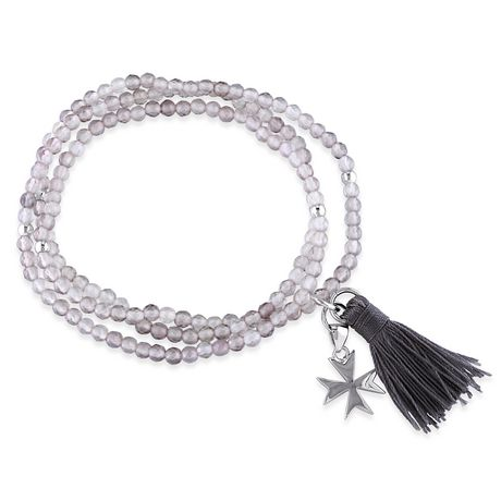 """Asteria Grey Agate and Grey Tassel Sterling Silver Endless Cross Charm Bracelet, 20"""" - image 1 of 3"""