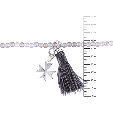 """Asteria Grey Agate and Grey Tassel Sterling Silver Endless Cross Charm Bracelet, 20"""" - image 2 of 3"""