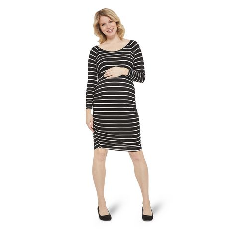 George Maternity Striped Shirred Elbow Sleeve Dress - image 1 of 6