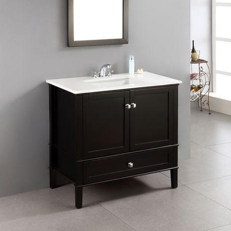 windham meuble lavabo 36 po avec dessus en marbre blanc walmart canada. Black Bedroom Furniture Sets. Home Design Ideas