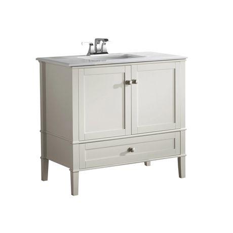 windham meuble lavabo 36 po avec dessus en marbre blanc walmart canada
