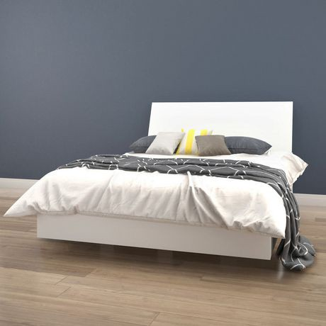 lit plateforme et t te de lit paris de nexera fini blanc walmart canada. Black Bedroom Furniture Sets. Home Design Ideas