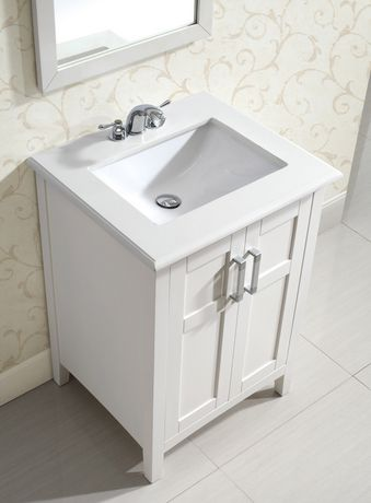 Salem 24 bath vanity with white quartz marble top - Walmart bathroom vanities with sink ...