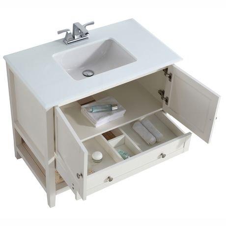 Belmont meuble lavabo 36 po avec dessus en marbre blanc for Dessus de comptoir salle de bain