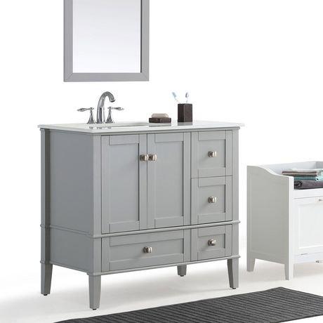 windham meuble lavabo 36 po c t gauche d cal avec dessus en marbre blanc walmart canada. Black Bedroom Furniture Sets. Home Design Ideas