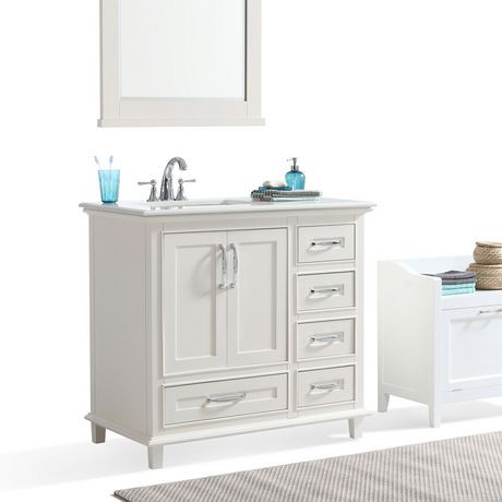 Newton 36 bath vanity with bombay white quartz marble top - Walmart bathroom vanities with sink ...