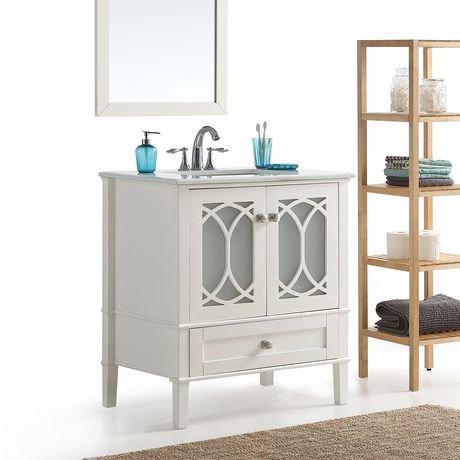 mulberry meuble lavabo 30 po avec dessus en marbre blanc walmart canada. Black Bedroom Furniture Sets. Home Design Ideas