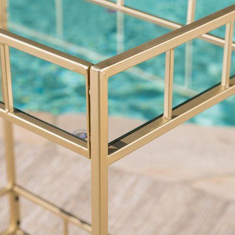 Varadero Outdoor Modern Glam Iron and Glass Bar Cart, Gold - image 3 of 5
