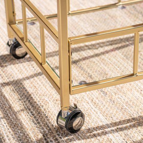 Varadero Outdoor Modern Glam Iron and Glass Bar Cart, Gold - image 4 of 5