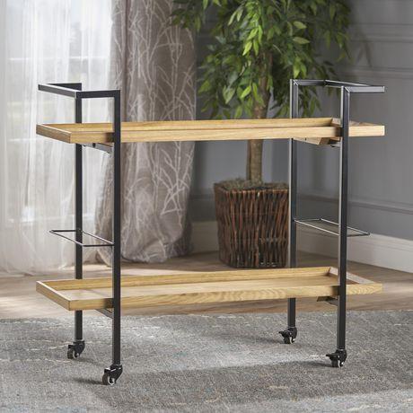 Gerard Industrial Natural Finished Wooden Bar Cart - image 1 of 6