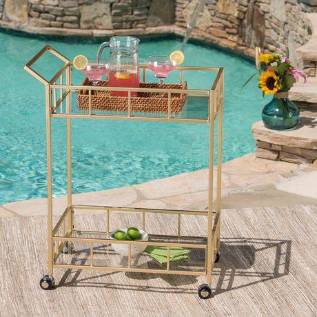 Varadero Outdoor Modern Glam Iron and Glass Bar Cart, Gold - image 1 of 5