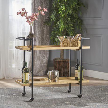 Gerard Industrial Natural Finished Wooden Bar Cart - image 3 of 6