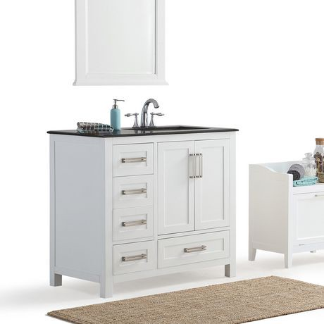 Jersey 36 Bath Vanity With Black Granite Top