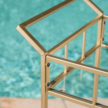 Varadero Outdoor Modern Glam Iron and Glass Bar Cart, Gold - image 2 of 5