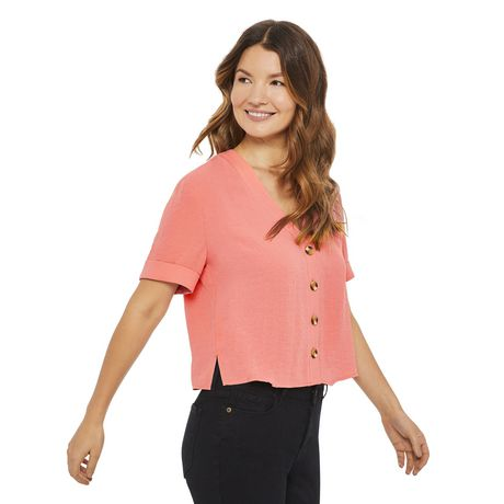 George Women's Button Front Boxy Shirt - image 2 of 6