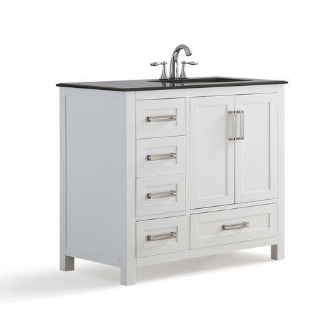 "WyndenHall Jersey 36"" Bath Vanity with Black Granite Top ..."