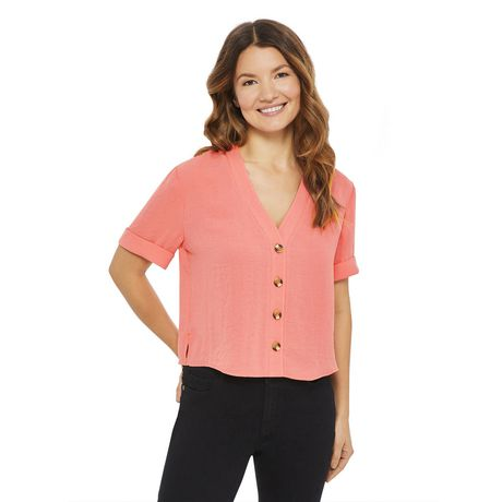 George Women's Button Front Boxy Shirt - image 1 of 6