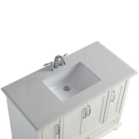 Wyndenhall newton 42 bath vanity with bombay white quartz - Walmart bathroom vanities with sink ...