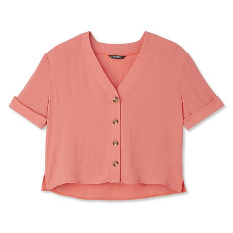 George Women's Button Front Boxy Shirt - image 6 of 6