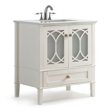 "WyndenHall Mulberry 30"" Bath Vanity with White Quartz ..."