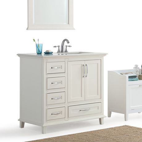 Wyndenhall newton 36 bath vanity with bombay white quartz - Walmart bathroom vanities with sink ...