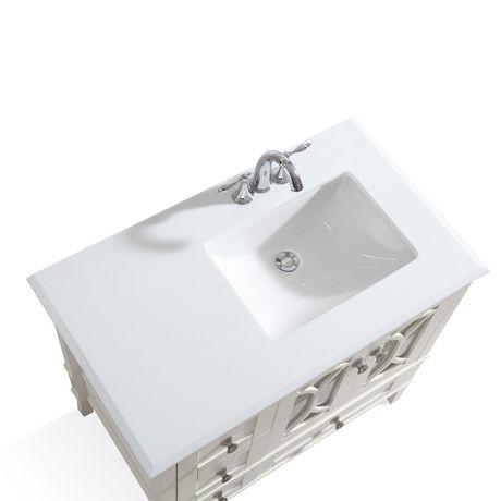 mulberry meuble lavabo 36 po avec dessus en marbre blanc. Black Bedroom Furniture Sets. Home Design Ideas