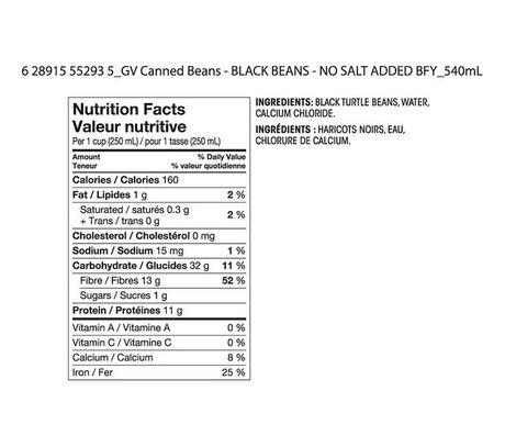 Haricots noirs sans sel ajouté de Great Value - image 2 de 2