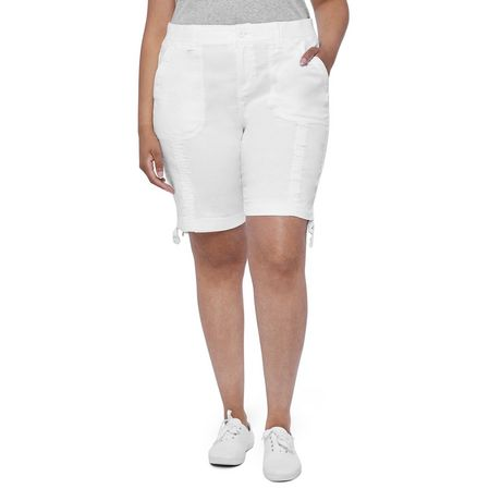 George Plus Women's Bermuda Cargo Short With Tie Hem White 20W