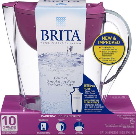brita® pacifica water filtration pitcher, berry, 10 cup | walmart canada