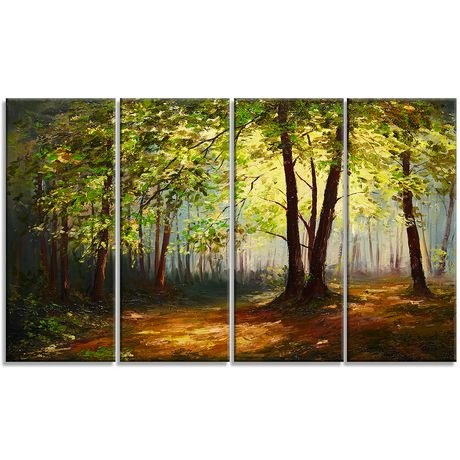 Design art summer forest multipanel landscape large metal wall art