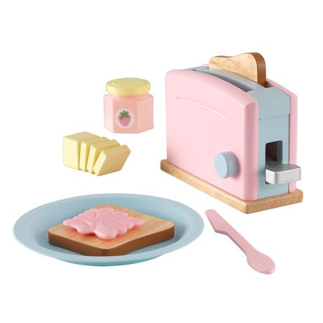 Pastel-coloured toy toaster with toy breakfast food and accessories, made by KidKraft