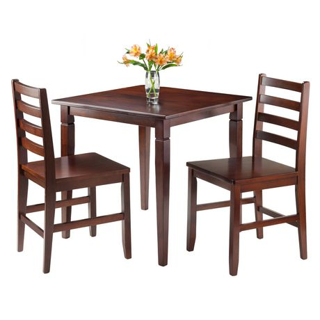 Winsome Kingsgate 3-Piece Dinning Table with 2 Hamilton Ladder Back Chairs - 94363 - image 2 of 2