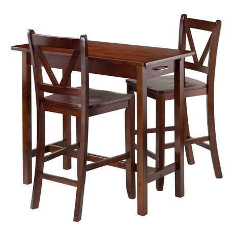 Winsome 3 Piece Kitchen Island Table With 2 V Back Stool 94364