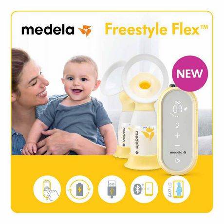 Medela Freestyle Flex Breast Pump, Closed System Quiet Portable Double Electric Breast Pump, Mobile Connected Smart Pump with Touch Screen LED Display and USB Chargeable Battery - image 1 of 9