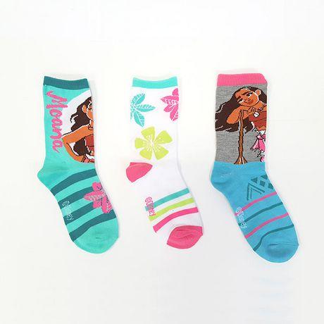 Mi-chaussettes Moana pour filles en paq. de 3 - image 1 de 2